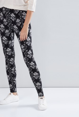 Flower Printed Leggings with Elasticised Waistband