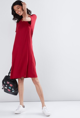 Round Neck Midi Shift Dress with Short Sleeves