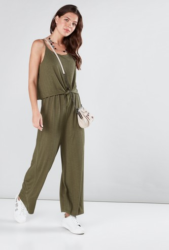 Textured Jumpsuit with Knot Detail and Spaghetti Straps