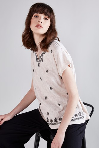 Embroidered V-Neck Top with Short Sleeves