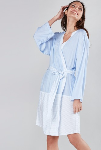 Striped Robe with Long Sleeves