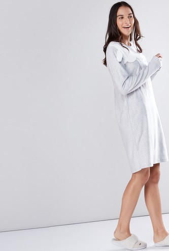 Applique Detail Sleep Dress with Long Sleeves
