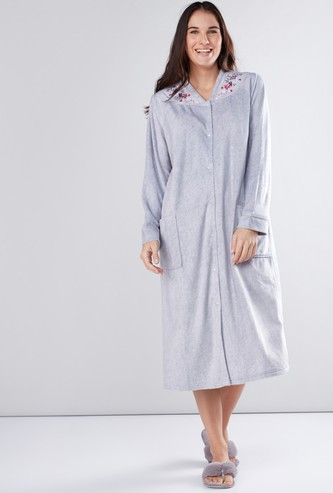 Printed Sleep Dress with Pocket Detail and Long Sleeves