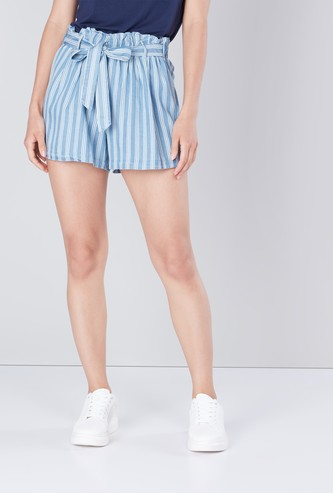 Striped Flared Shorts with Front Knot Styling