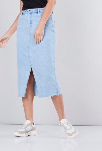 Denim Midi Skirt with Front Slit