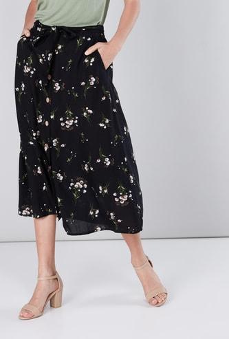 Floral Printed A-Line Midi Skirt