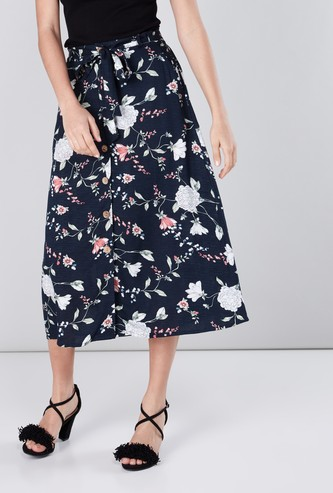 Floral Printed Midi Skirt with Tie Ups and Button Detail