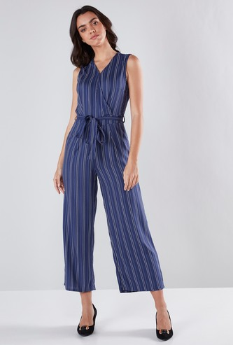 Striped Sleeveless Jumpsuit with Tie Up Belt