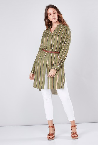 Striped Shirt Tunic with Long Sleeves and Side Slit