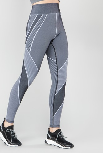 Seamless High-Waist Leggings with Jacquard Print