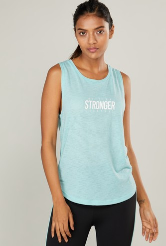 Text Print Sleeveless Vest