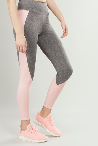 Slim Fit Cut and Sew Leggings with Elasticised Waistband