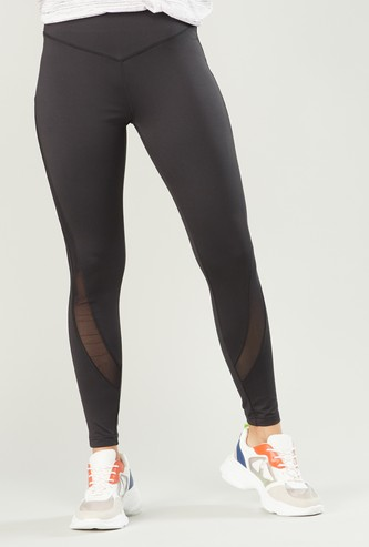 Slim Fit Textured Quick Dry Leggings with Elasticised Waistband