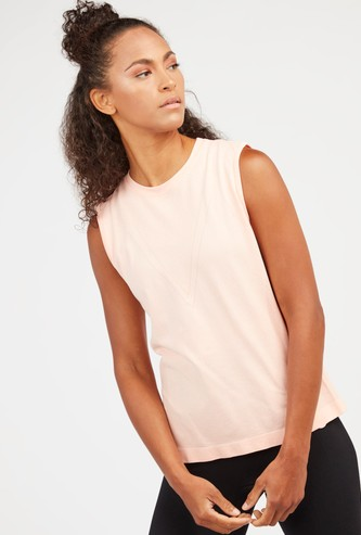 Textured Sleeveless T-shirt with Round Neck