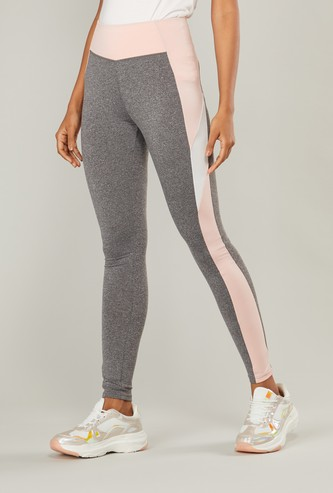 Colourblock Quick Dry Leggings with Tape Detail