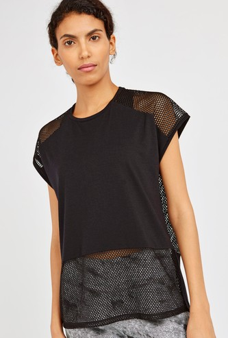 Textured Boxy T-shirt with Mesh Panels