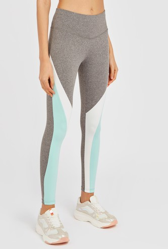 Full-Length Colourblock Quick Dry Leggings with Elasticised Waistband