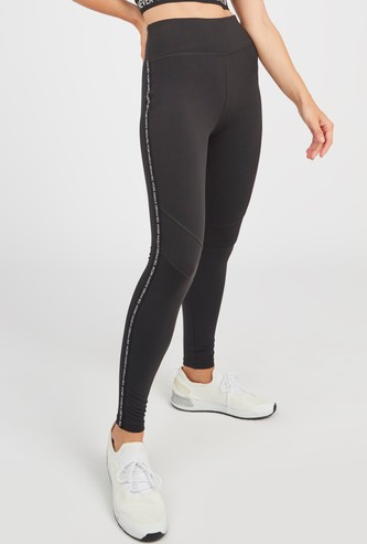Textured Tape Detail Leggings with Elasticised Waistband