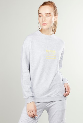 Printed Oversized Sweat Top with High Neck and Long Sleeves