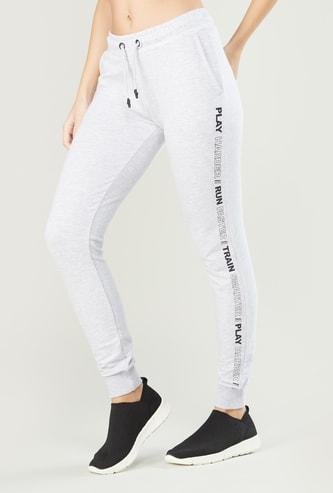 Side Tape Printed Jog Pants with Pocket Detail and Drawstring