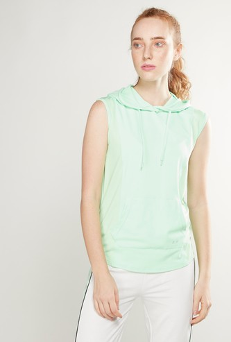 Textured Sleeveless T-shirt with Hood