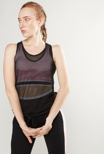 Textured Sleeveless Vest with Round Neck and Drawstring