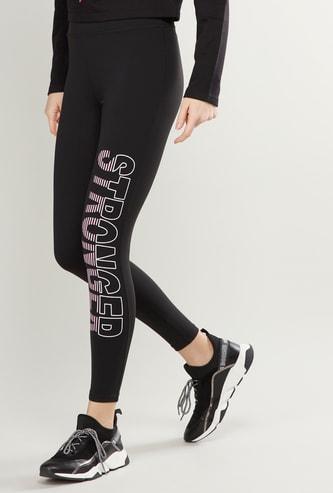 Printed High Waist Leggings with Elasticised Waistband