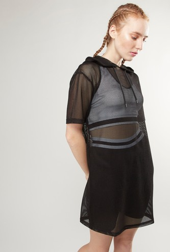 Longline Mesh Top with Hood and Short Sleeves