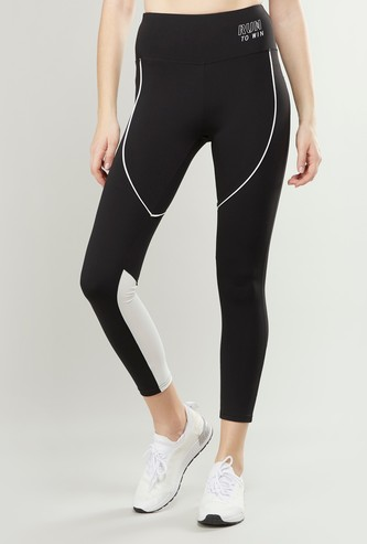 Slim Fit Textured Leggings with Elasticised Waistband