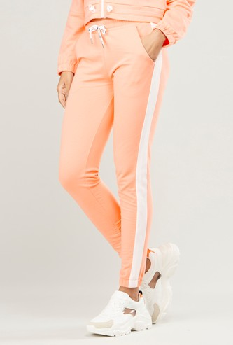 Solid Jog Pants with Tape Detail and Drawstring Waistband