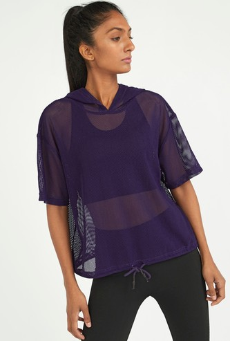 Textured Top with Short Sleeves and Hood