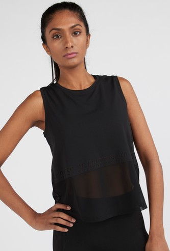 Textured Sleeveless Vest with Round Neck