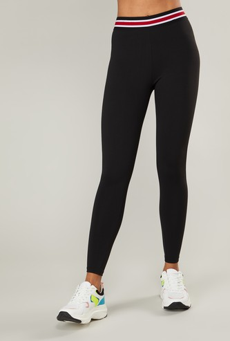 Solid Quick Dry Leggings with Striped Elasticised Waistband