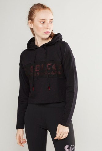 Text Printed Boxy Crop Sweatshirt with Hood and Long Sleeves