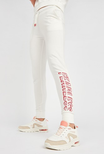 Fearless Print Jog Pants with Pocket Detail and Drawstring