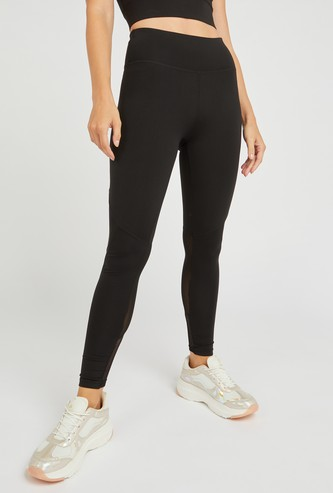 Slim Fit Textured Leggings with Mesh Panels and Elasticised Waistband