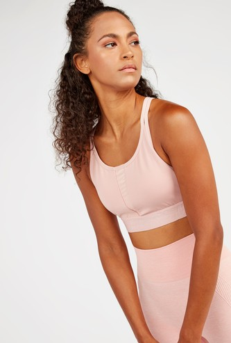 Slim Fit Solid Sports Bra with Elasticised Straps