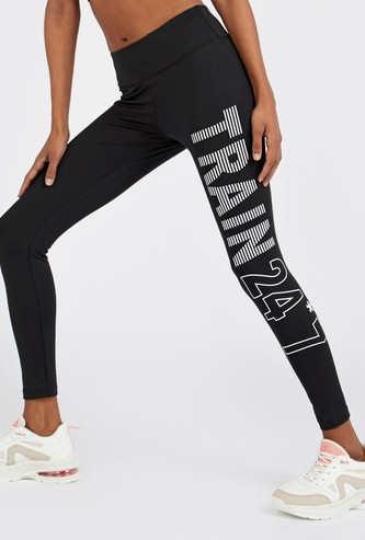 Slim Fit Slogan Print Quick Dry Leggings with Elasticised Waistband