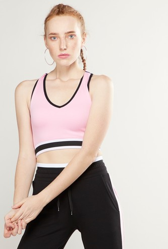 Textured Sleeveless Crop Top with Racerback and Elasticised Hem