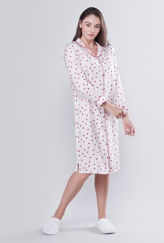 Heart Printed Button Down Sleepshirt with Long Sleeves