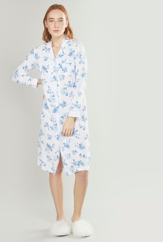 Printed Sleepshirt with Long Sleeves