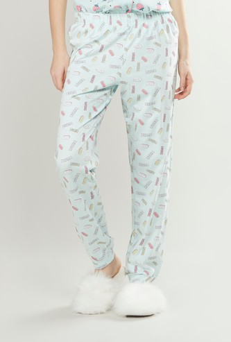 Full Length Graphic Print Pyjama Pants with Elasticated Waistband