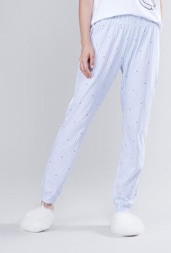 Full Length Striped Jog Pants with Elasticised Waistband
