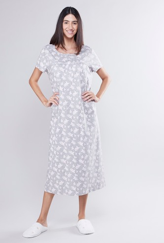 Printed Midi Sleep Dress with Short Sleeves and Lace Detail