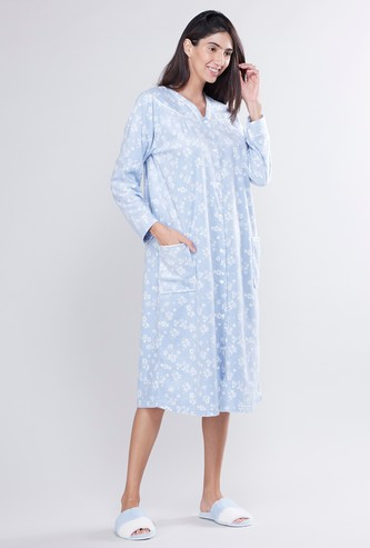 Floral Printed Sleep Gown with Long Sleeves and Button Closure
