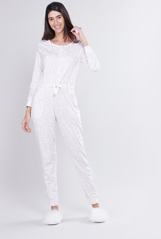 Printed Onesie with Long Sleeves and Pocket Detail