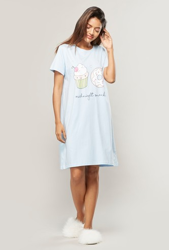 Printed Sleepdress with Round Neck and Short Sleeves
