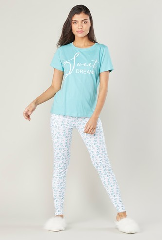 Printed Round Neck T-shirt with Full Length Leggings