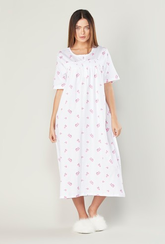 Printed Sleepdress with Short Sleeves