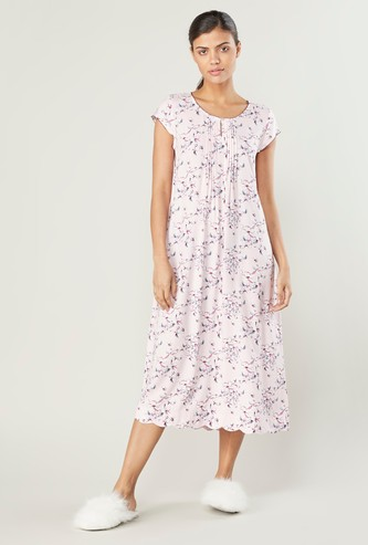 Printed Sleepdress with Short Sleeves and Pin Tuck Detail